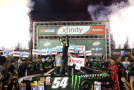 Kyle Busch, driver of the #54 Monster Energy Toyota, celebrates in Victory Lane after winning the NASCAR XFINITY Series Food City 300 at Bristol Motor Speedway on August 21, 2015 in Bristol, Tennessee. - Photo Credit: Matt Sullivan/Getty Images