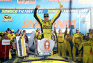 Matt Kenseth, driver of the #20 Dollar General Toyota, celebrates in Victory Lane after winning the NASCAR Sprint Cup Series SYLVANIA 300 at New Hampshire Motor Speedway on September 27, 2015 in Loudon, New Hampshire. - Photo Credit: Sean Gardner/Getty Images