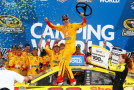 Joey Logano, driver of the #22 Shell Pennzoil Ford, celebrates in Victory Lane after winning the NASCAR Sprint Cup Series CampingWorld.com 500 at Talladega Superspeedway on October 25, 2015 in Talladega, Alabama. - Photo Credit: Daniel Shirey/Getty Images