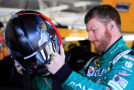 Dale Earnhardt Jr., driver of the #88 Halo 5: Master Chief Chevrolet, stands in the garage area during practice for the NASCAR Sprint Cup Series Hollywood Casino 400 at Kansas Speedway on October 16, 2015 in Kansas City, Kansas. - Photo Credit: Daniel Shirey/Getty Images
