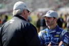 Jimmie Johnson, driver of the #48 Lowe's Chevrolet, talks with Rick Hendrick, owner of Hendrick Motorsports - Photo Credit: Ed Zurga/Getty Images