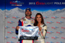 (L-R) Jimmie Johnson, driver of the #48 Lowe's Patriotic Chevrolet, and Miss Coors Light Amanda Mertz pose with the pole award after qualifying for the NASCAR Sprint Cup Series Quicken Loans Race for Heroes 500 at Phoenix International Raceway on November 13, 2015 in Avondale, Arizona. - Photo Credit: Chris Trotman/Getty Images
